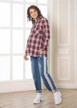 Рубашка из фланели для беременных Пати