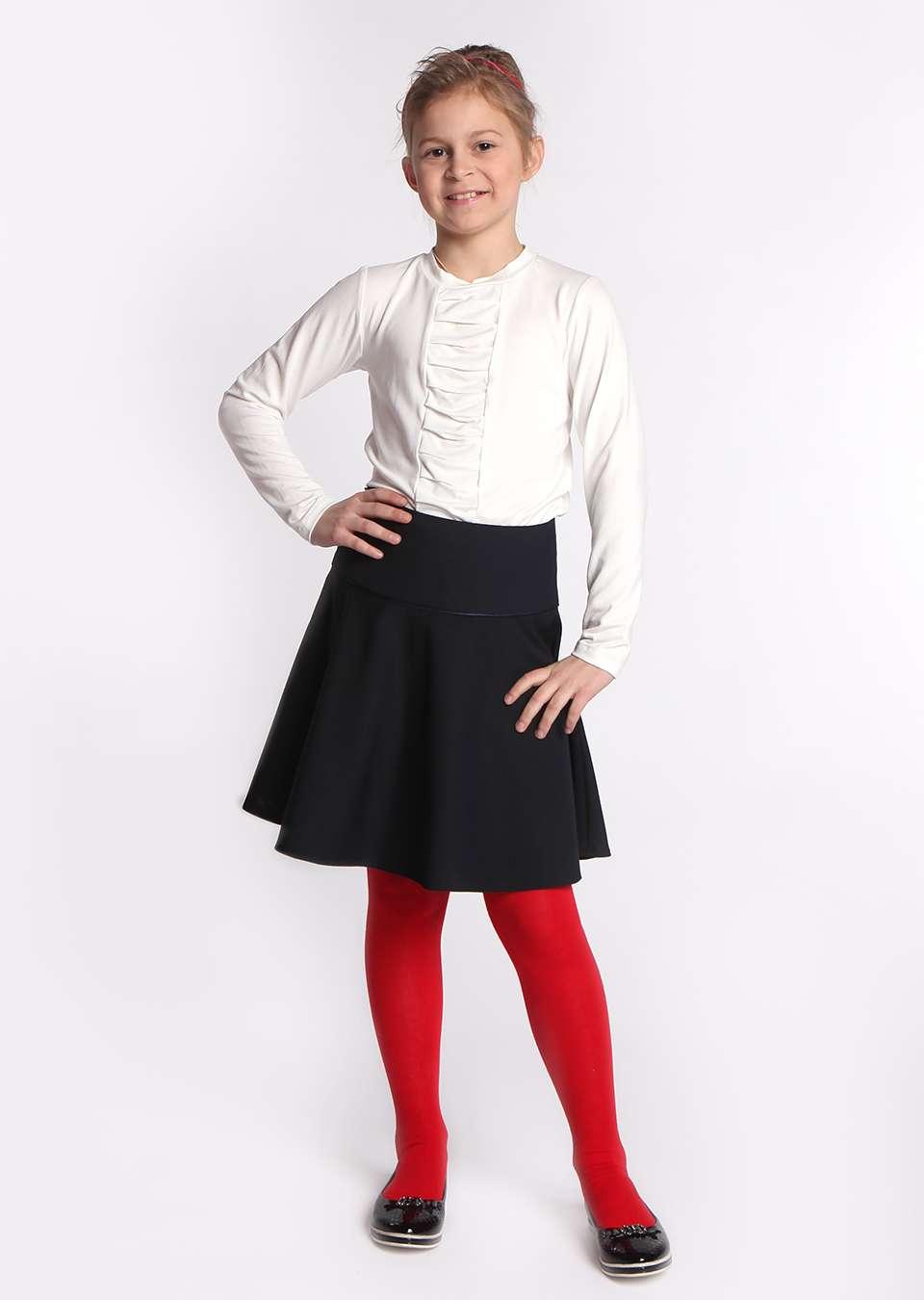 Блузка с вставкой школьная для девочек
