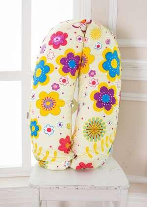 Подушка для беременных 190см Цветы с желтым